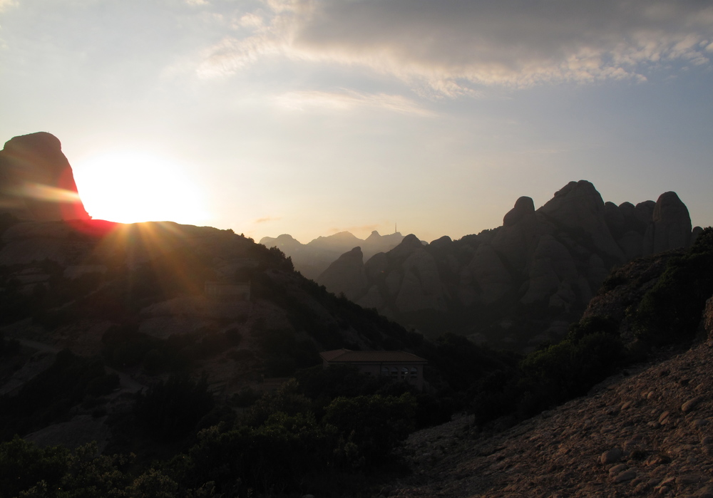 Montserrat mountain at sunset.