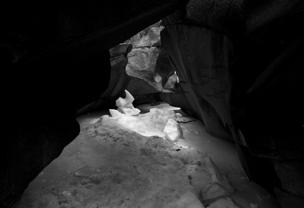 Ice formations in the Grottos of Independence Pass, Colorado.