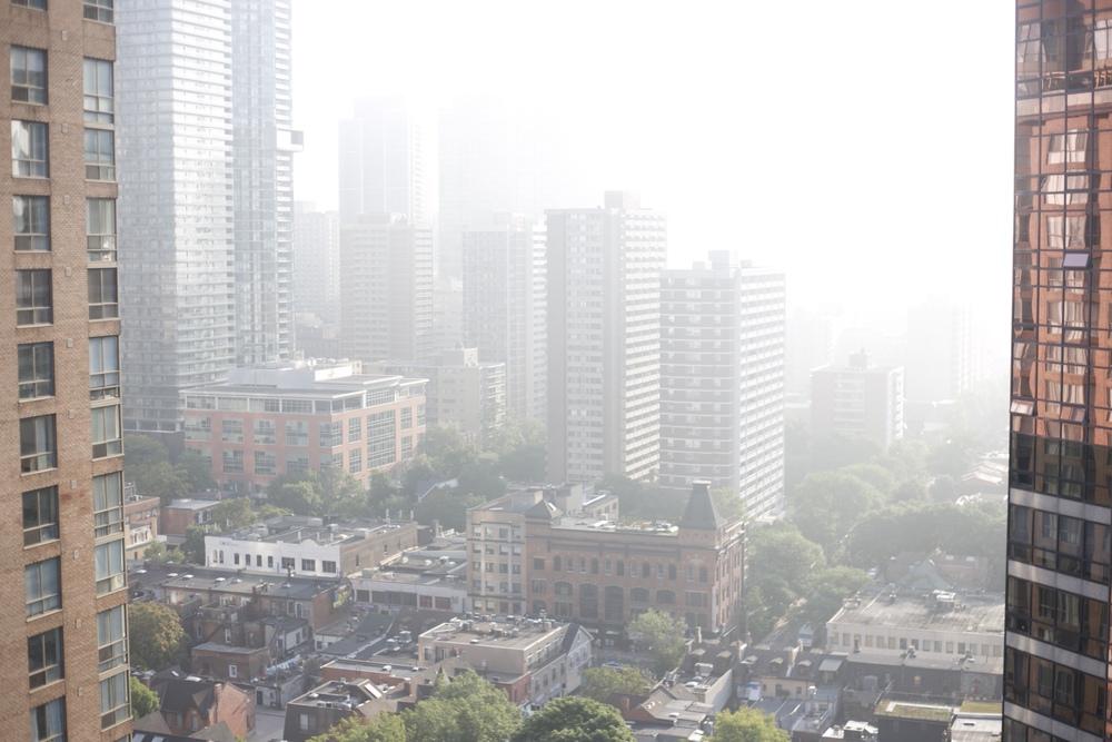 Toronto city in the morning mist.