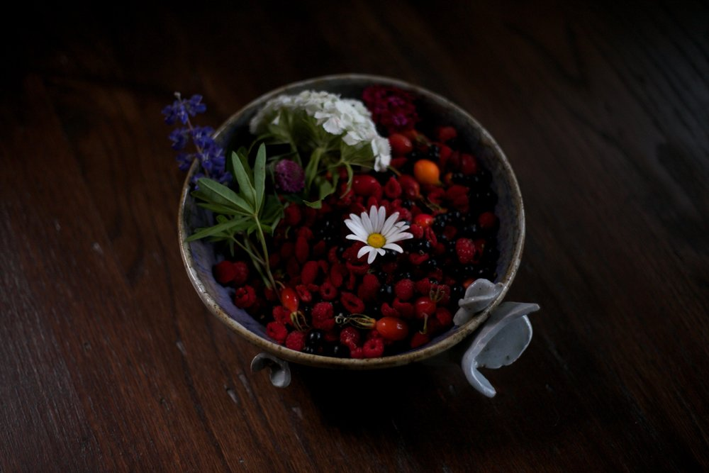 Foraged berries and flowers.