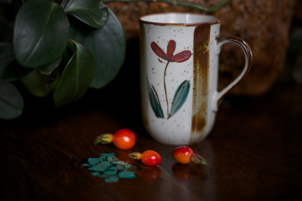 Rose hip tea made from wild rose hips.