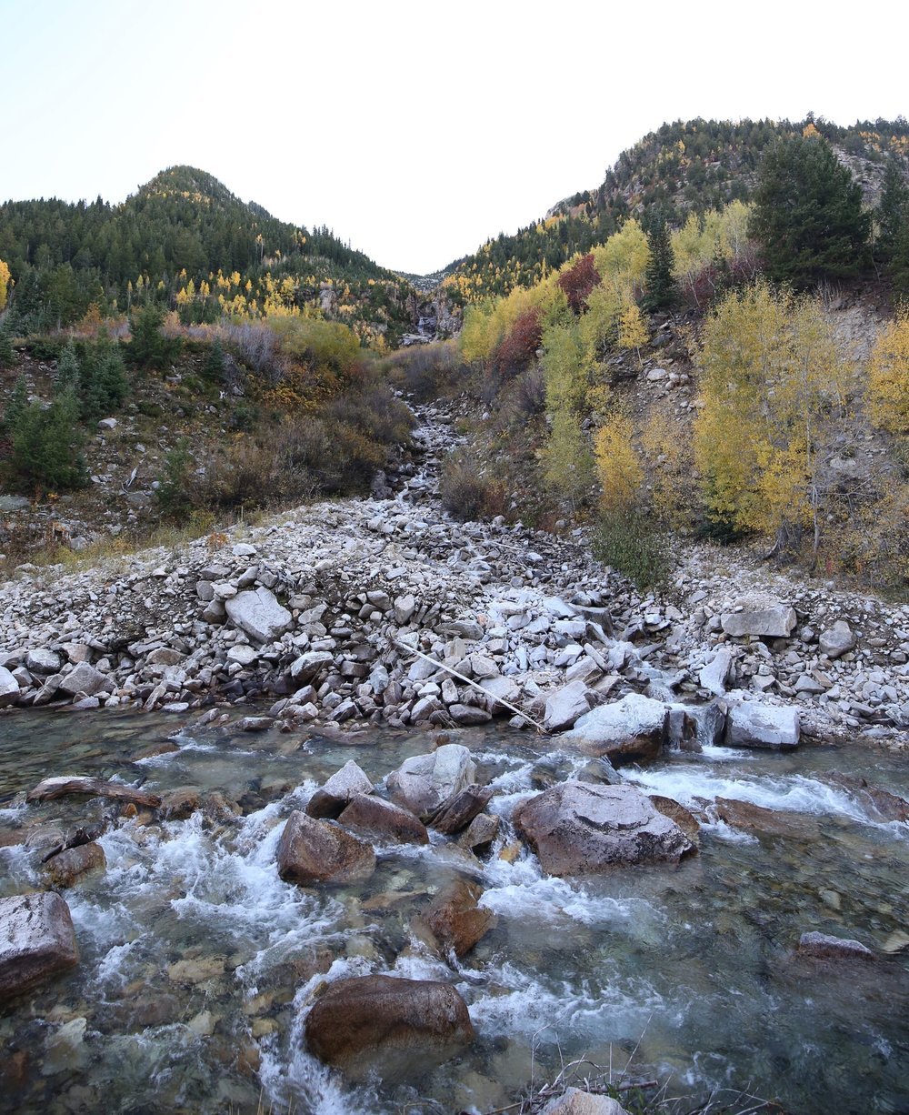 Snow melt forms rivers in the mountains.