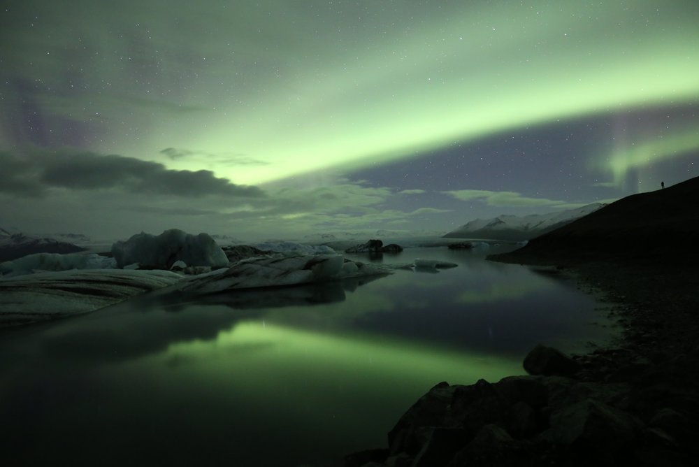 The Northern Lights above Jokulsarlon glacier lagoon Iceland