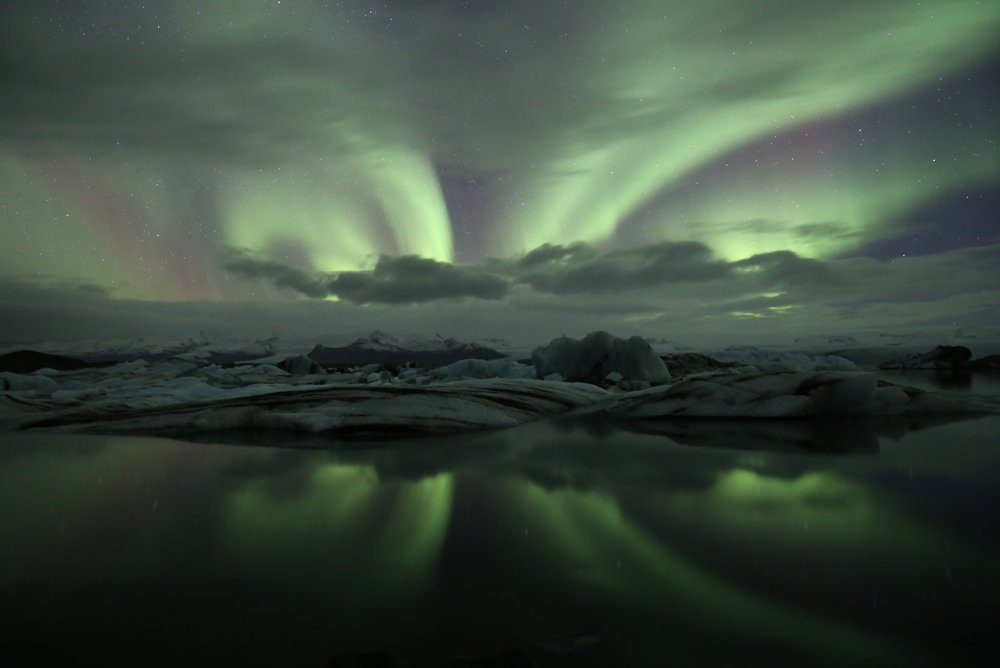 jokulsarlon northern lights