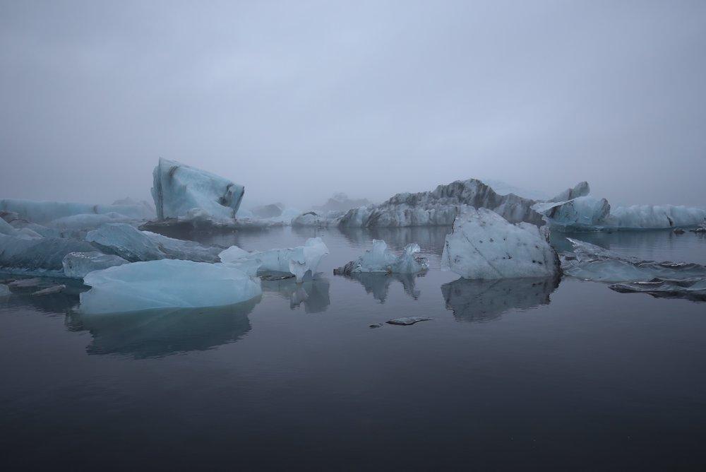 icebergs in mist