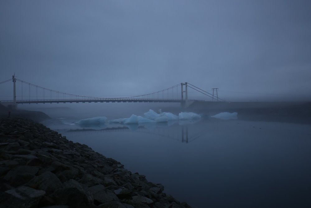 bridge over icebergs