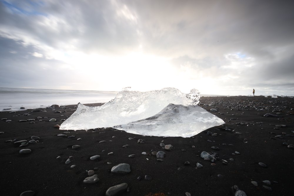 jokulsarlon ice on beach