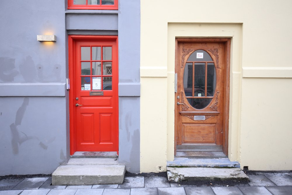 different doors in city