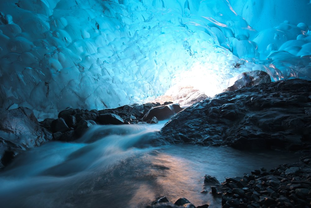 waterfall ice cave