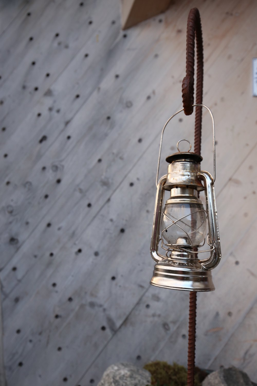 silver hanging lantern