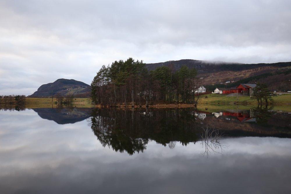 beautiful mirror lake Norway
