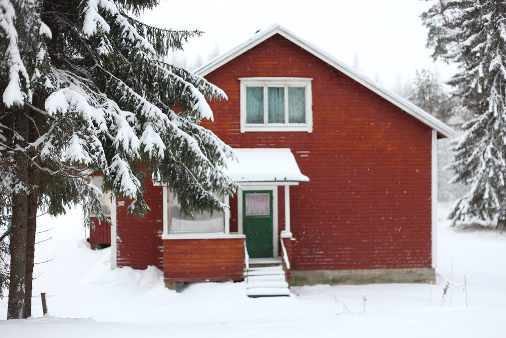 finnish red house winter