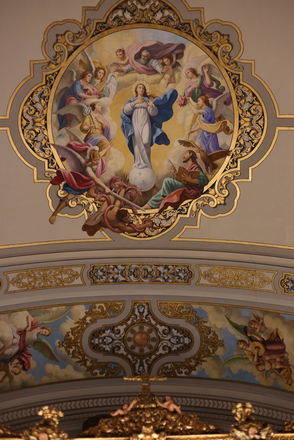 painted church ceiling angels and Mary