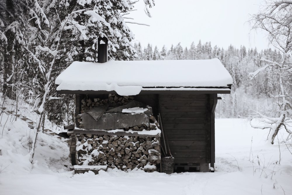 finnish sauna in winter