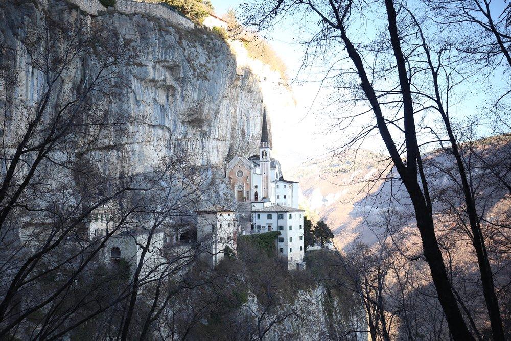Madonna Della Corona, a pink church in the rock cliffs of Verona.