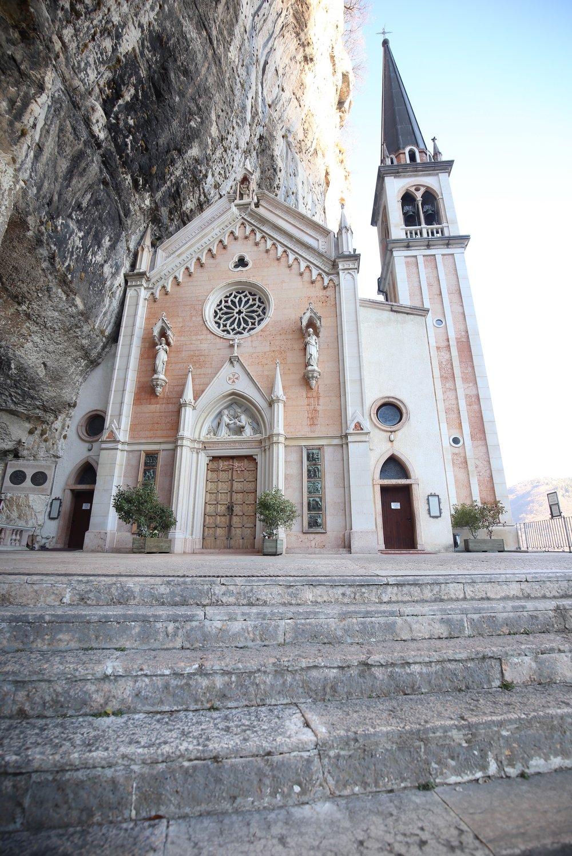Pink rock church on a cliff near Verona.