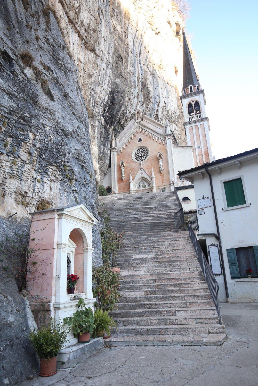Madonna Della Corona, church on a cliffside in Verona.