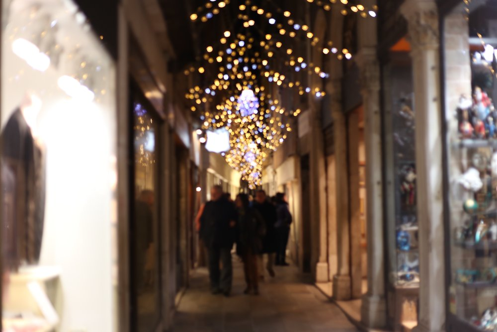 Venice at night - the streets are lit up with fairy lights