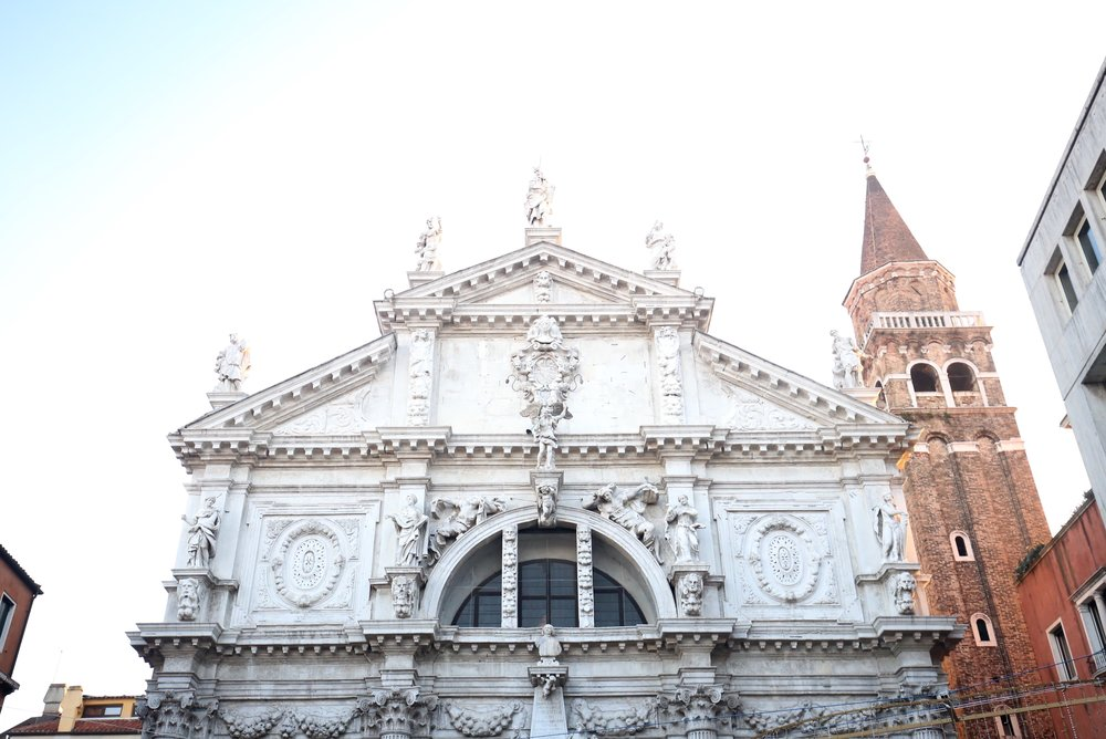 Venetian architecture - white stone with baroque decoration.