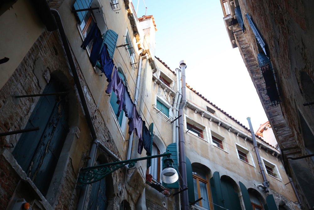 Washing hanging in the streets of Venice.