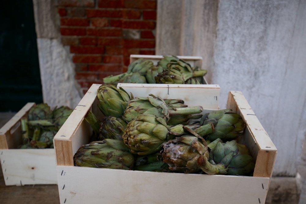 Venice market - fresh artichokes.