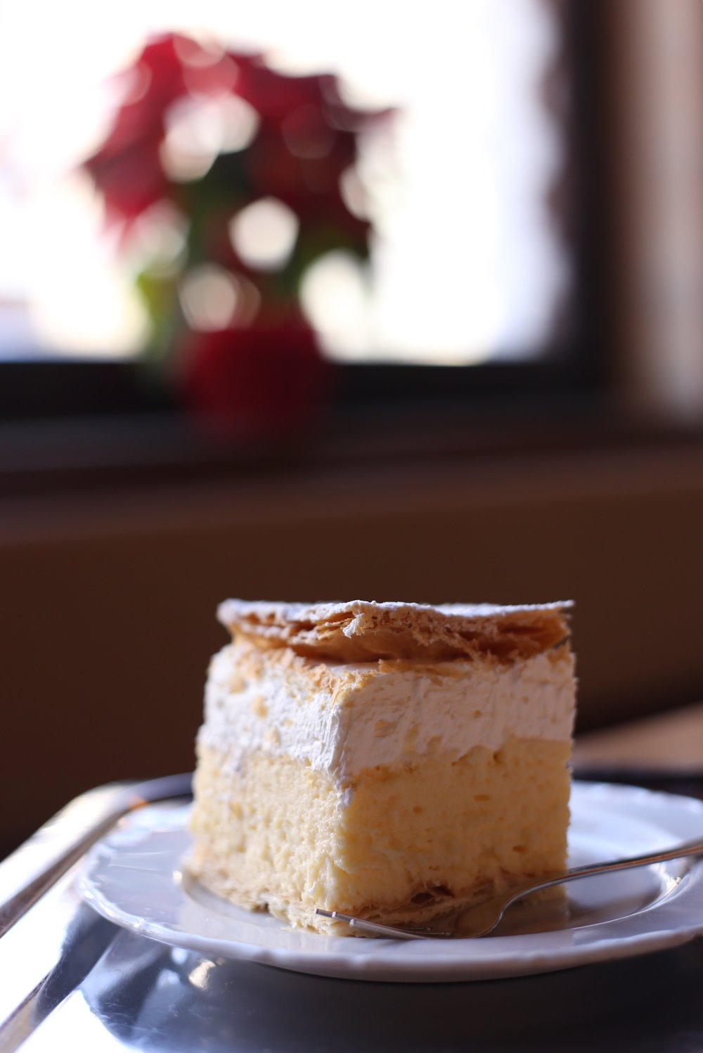 A traditional cream cake of Bled, Slovenia.
