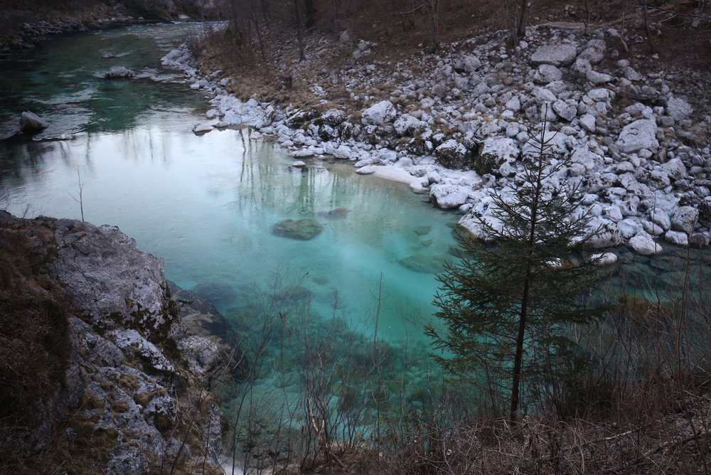 The Soča river is still beautifully blue and turquoise in winter, in the Soča Valley of Slovenia.