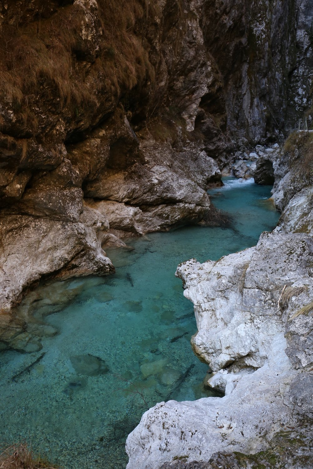 An amazing blue river in the canyons of Slovenia.