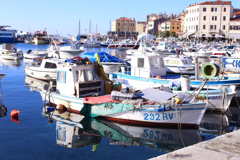 Boats and rubble in the bay, Rovinj.