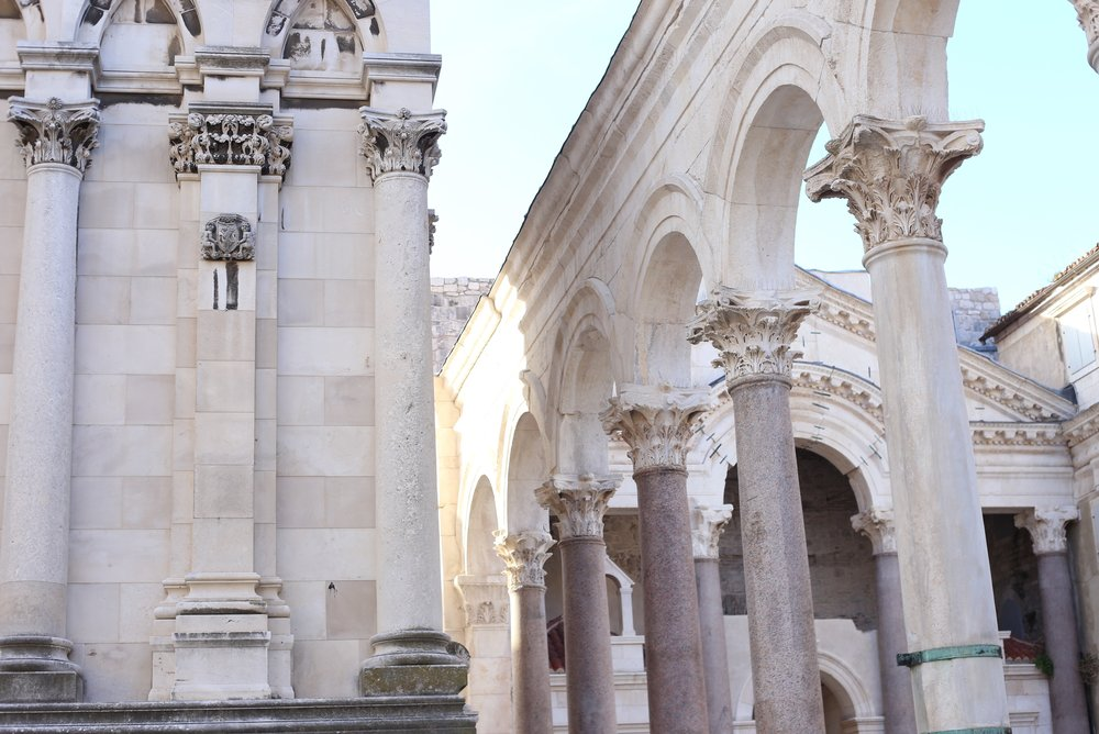 Diocletian's Palace - white stone architecture.