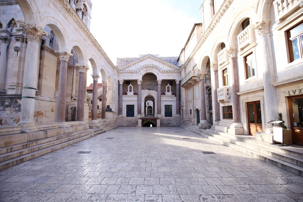 The courtyard of Diocletian's Palace - stone floors.