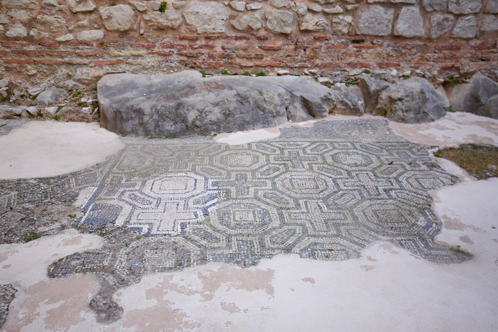 Roman floor tiling in blue and white patterns, Split.