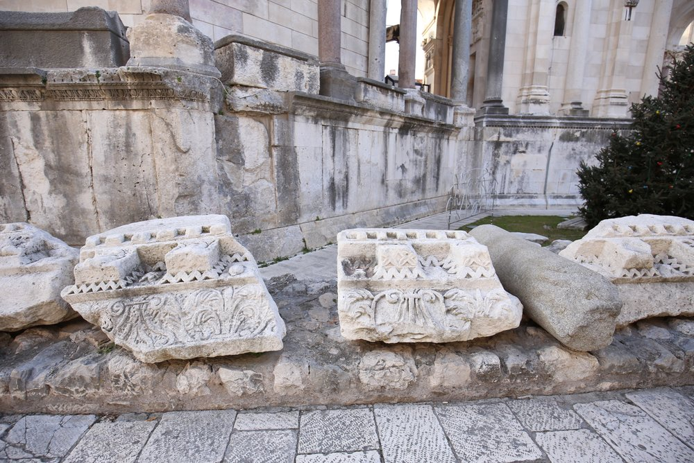 The ruins of Split - white carved capitals.