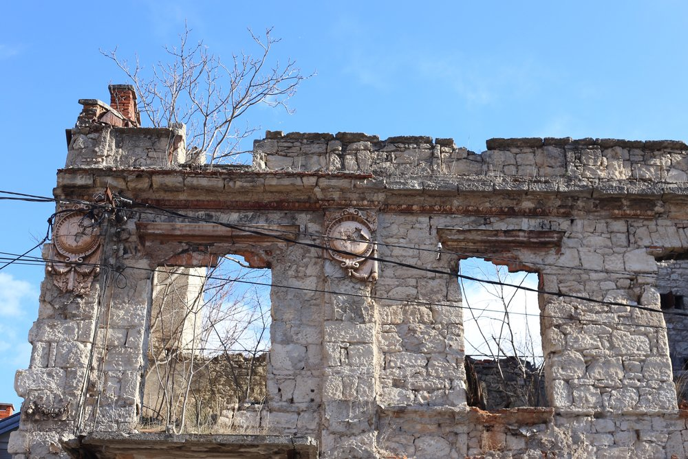 A war torn building - ruins in stone.