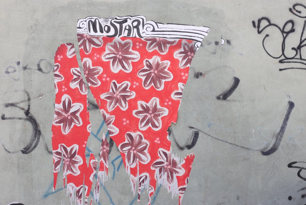 Mostar graffiti - pink flowers.