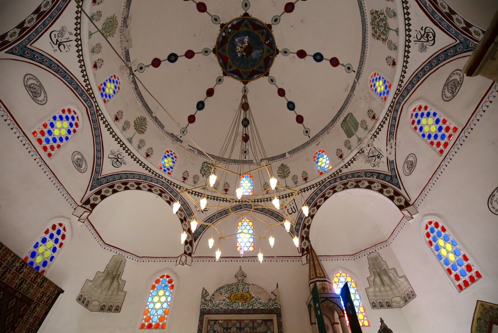 Koski Mehmed Pasha Mosque in Mostar - interior of stained glass and paintings.