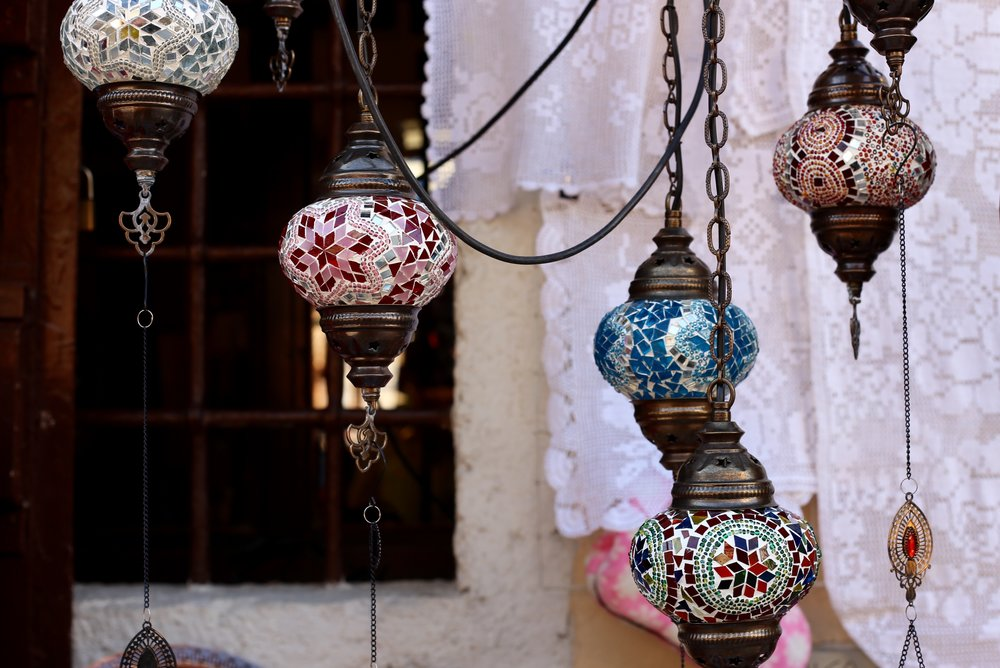 Hanging glass lanterns in the moorish style.