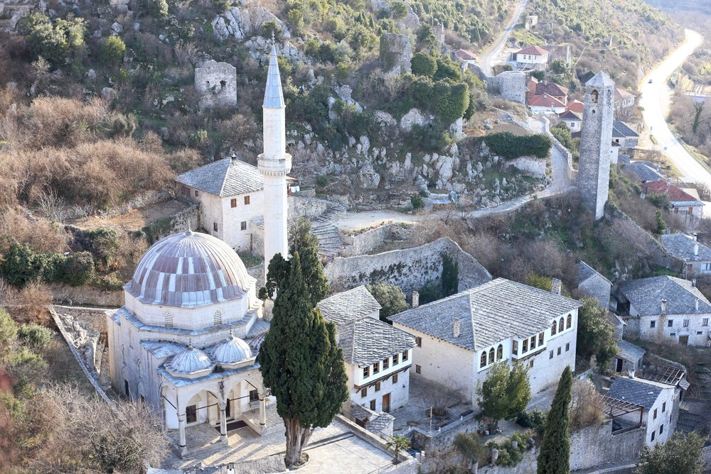 The medieval village and mosque of Pocitelj, Hercegovina.