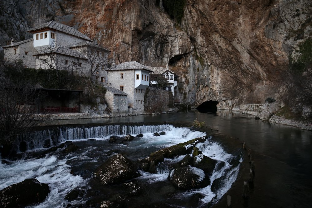 The black and blue waters of Blagaj in winter - near Mostar.