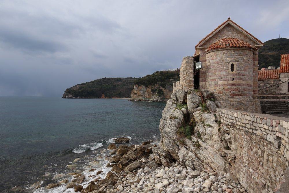 Budva town walls by the sea, Montenegro.