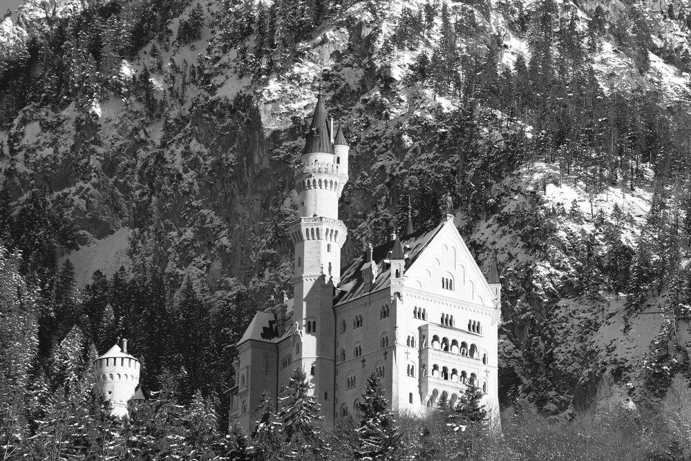 Neuschwanstein in black and white, high detail.