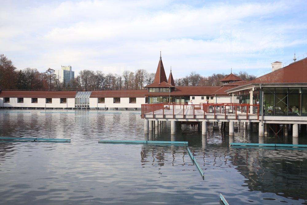 The bathhouses of Lake Heviz, set right on the lake.