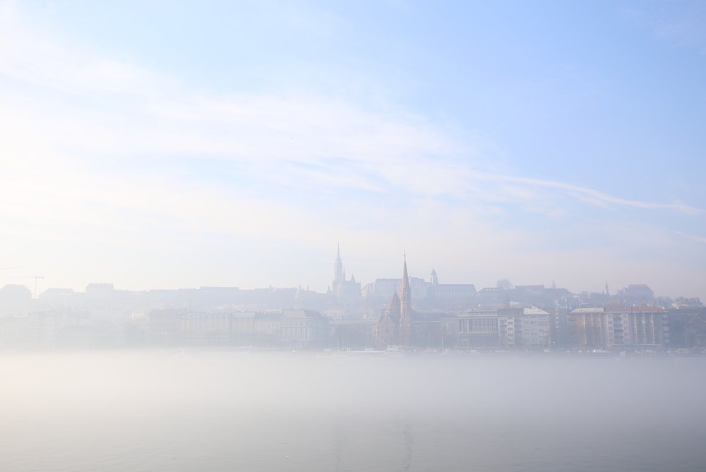 Budapest and mist over the Danube.