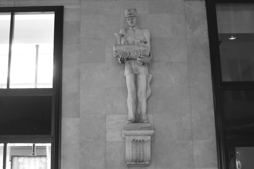 Statue of a train conductor, Budapest.