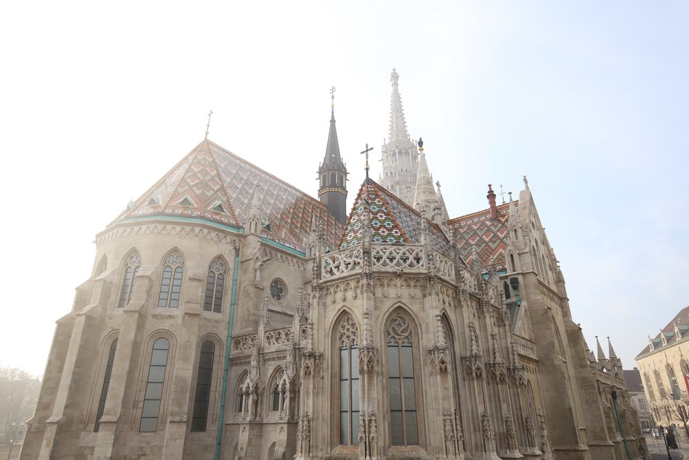 St Matthias Church in the mist, Budapest.