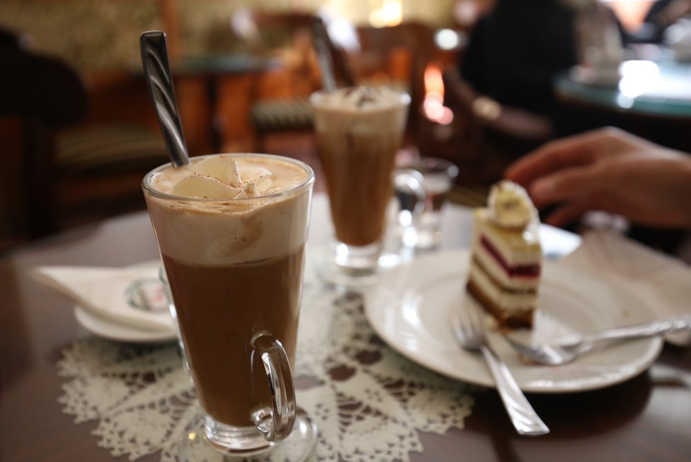 Ruszwurm cafe in Budapest - splendid hot chocolates and layered cake.