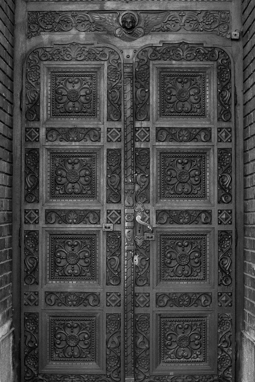 Romanian church doors, brass or iron.