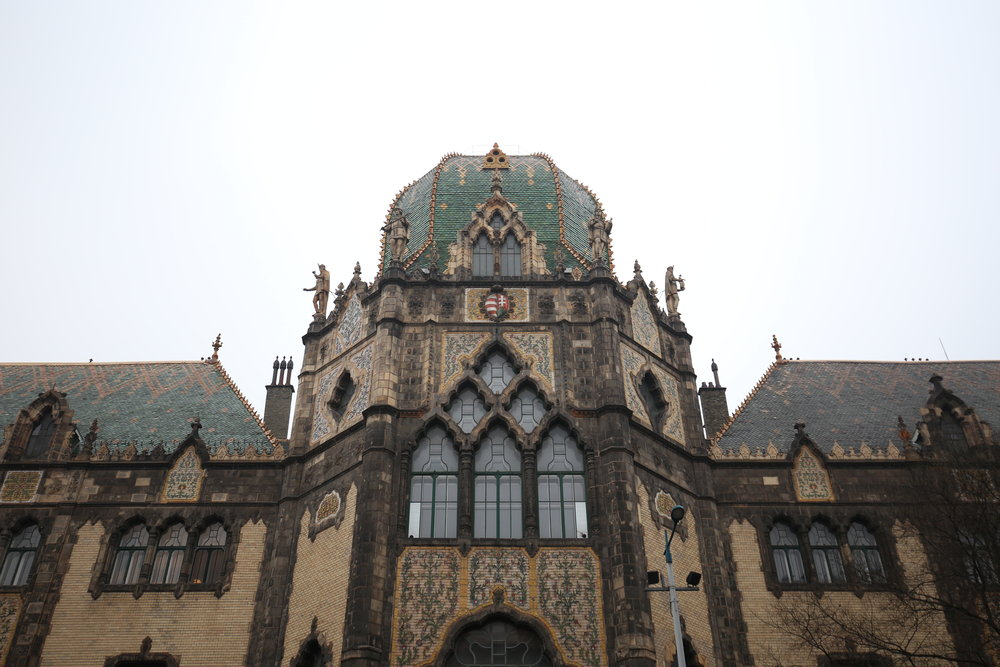 The Applied Arts building façade in Budapest - with green tiled art nouveau roof.