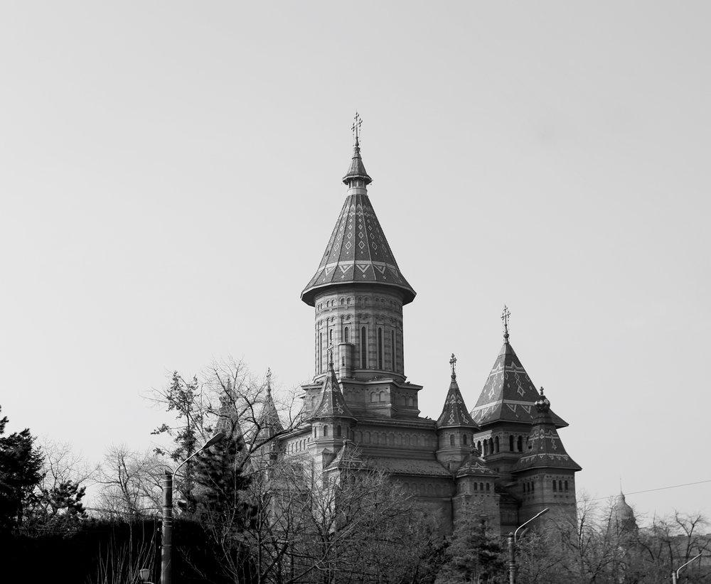 Nosferatu castle - The church of Timisoara, Romania.