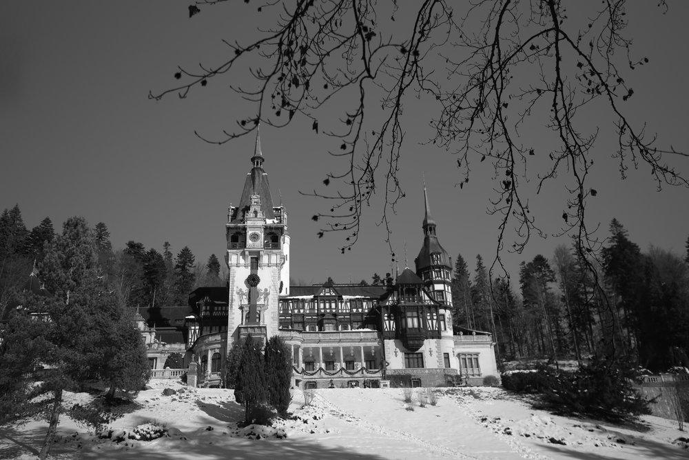 Peles castle in winter - black and white.